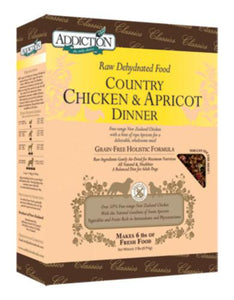 Addiction Country Chicken Apricot Dinner - Grain Free Raw Dehydrated Dog Food (3 Sizes)