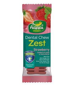Happi Doggy Dental Chew Zest Strawberry 4 inch