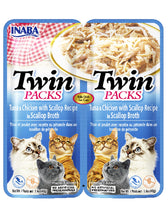 Load image into Gallery viewer, Inaba Cat Twin Packs Tuna & Chicken with Scallop Recipe in Broth Cat Wet Food 80g| Waggymeal Online Pet Store Malaysia