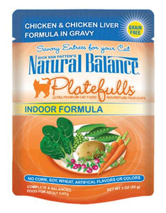 Natural Balance Indoor Formula Chicken & Chicken Liver Formula in Gravy Cat Pouches 85g (3oz.)