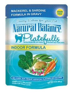 Natural Balance Indoor Formula Mackerel & Sardine Formula in Gravy Cat Pouches 85g (3oz.)