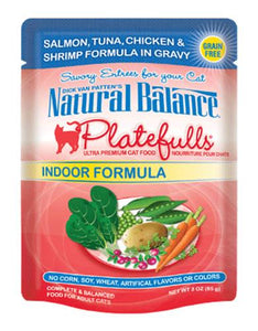 Natural Balance Indoor Formula Salmon, Tuna, Chic & Shrimp Formula in Gravy Cat Pouches 85g (3oz.)