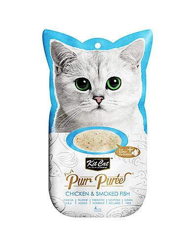 Kit Cat Purr Puree Chicken & Smoked Fish Cat Treat | Waggymeal Online Pet Store Malaysia