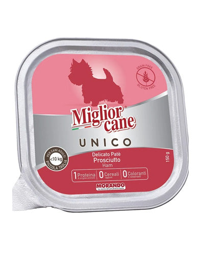 Migliorcane Unico Adult Mini Delicate Ham Pate Wet Dog Food 150g | Waggymeal Online Pet Store Malaysia