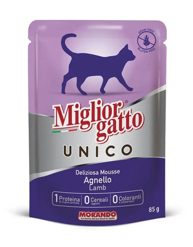 Migliorgatto Unico Delicious Lamb Mousse Wet Cat Food 85g | Waggymeal Online Pet Store Malaysia