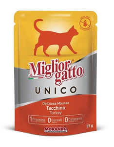 Migliorgatto Unico Delicious Turkey Mousse Wet Cat Food 85g