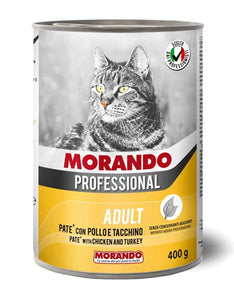 Morando Professional Adult Pate with Chicken & Turkey Wet Cat Food 400g