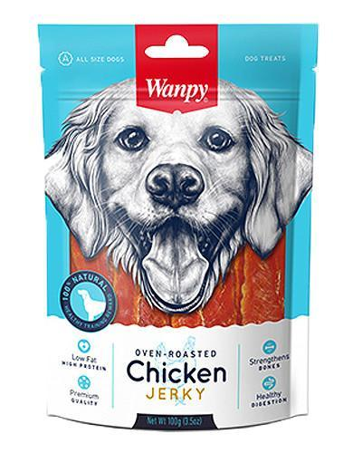 Wanpy Premium Oven Roasted Chicken Jerky Dog Treats 100g | Waggymeal Online Pet Store Malaysia