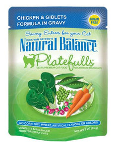Natural Balance Platefulls Chicken & Giblets Formula in Gravy Cat Pouches 85g (3oz.)
