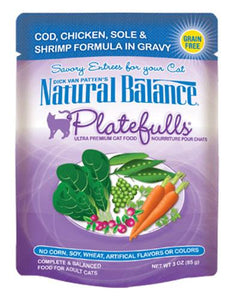 Natural Balance Platefulls Cod, Chic, Sole & Shrimp Formula in Gravy Cat Pouches 85g (3oz.)
