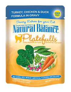 Natural Balance Platefulls Turkey, Chic & Duck Formula in Gravy Cat Pouches 85g (3oz.)