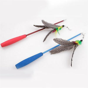 JD Nature Cat Fishing Stick Feather Pet Toys