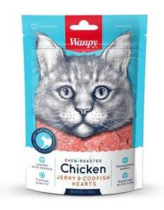 Wanpy Oven-Roasted Chicken & Cod Fish Hearts Cat Treats 80g