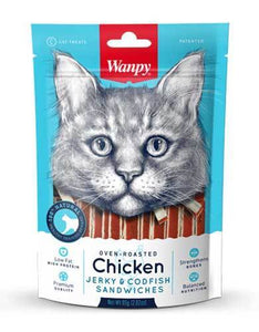 Wanpy Oven Roasted Chicken & Cod Fish Sandwiches Cat Treats 80g