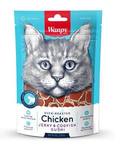 Wanpy Oven Roasted Chicken & Cod Fish Sushi Cat Treats 80g