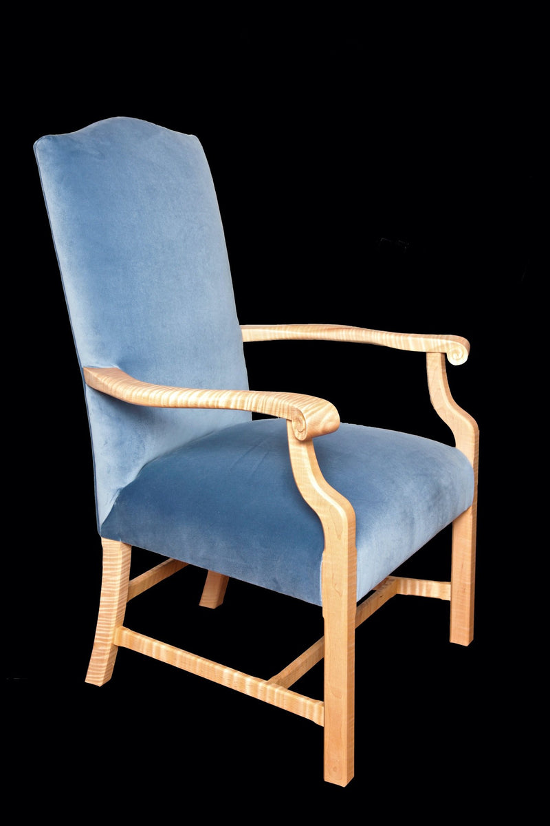 CURLY MAPLE POMFRET ARM CHAIR
