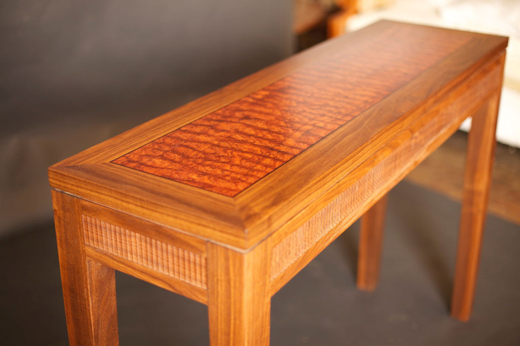 MODERN CLASSIC ENTRYWAY TABLE IN CHERRY WITH WATERFALL BUBINGA
