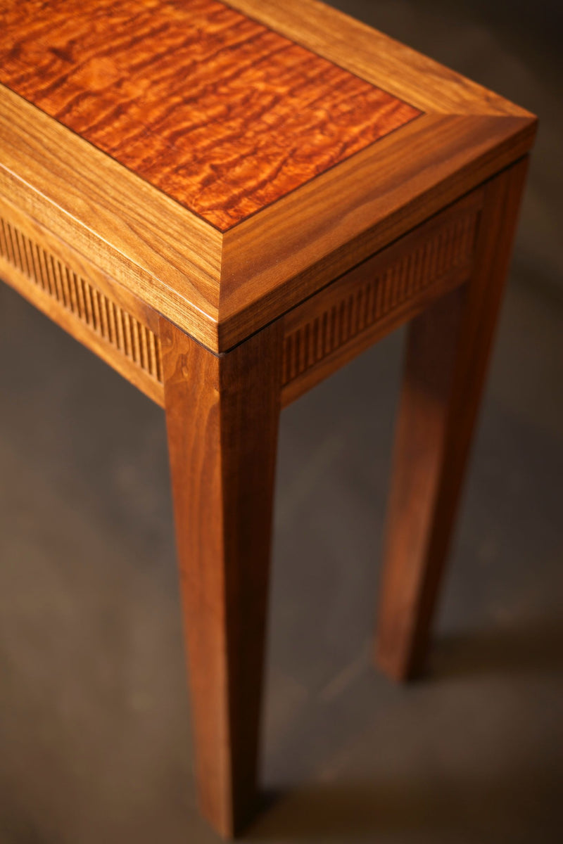 MODERN CLASSIC ENTRYWAY TABLE IN CHERRY WITH WATERFALL BUBINGA - ShackletonThomas