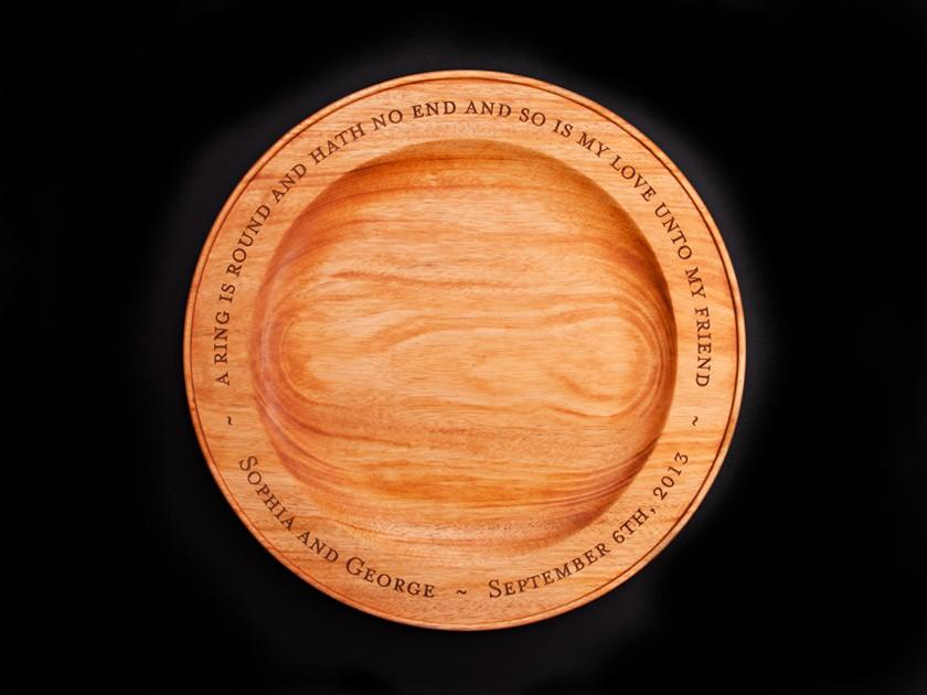 ENGRAVED HAND TURNED MAHOGANY PLATTER - ShackletonThomas
