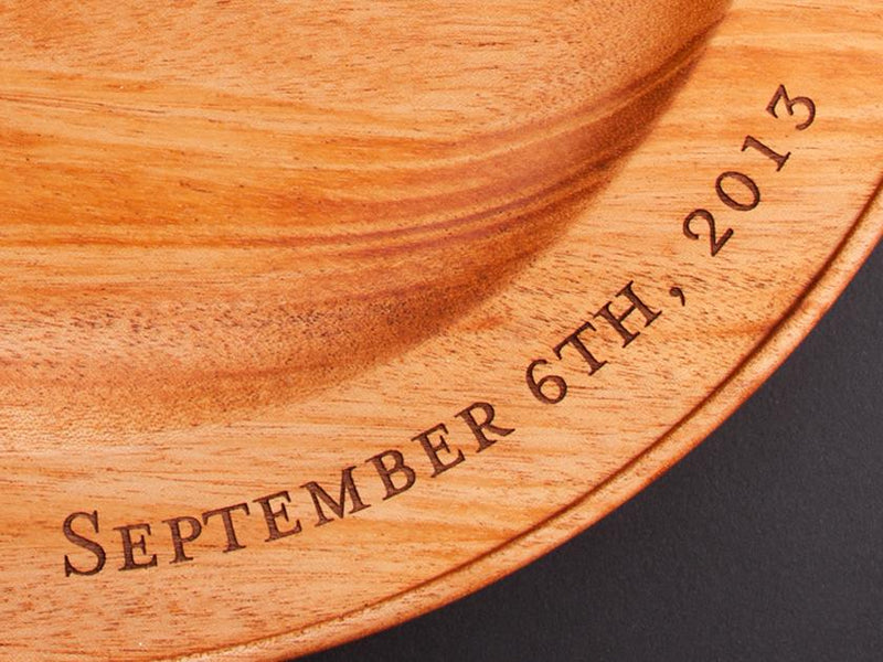 ENGRAVED HAND TURNED MAHOGANY PLATTER