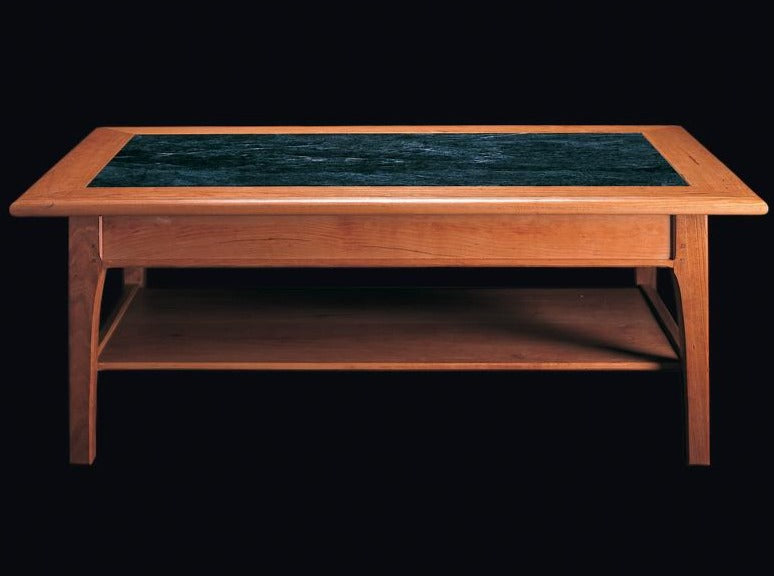 Handmade rectangular coffee table with marble insert