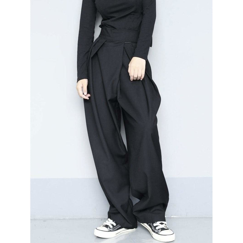 Brief Pleated Wide Leg Trousers