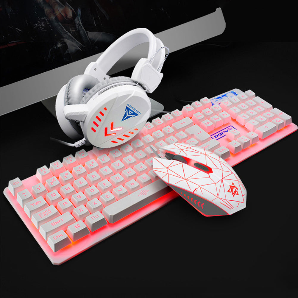 4 Pcs Illuminated Keyboard Home Gaming Set