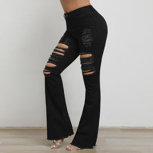 Black High Waist Distressed Flare Jeans