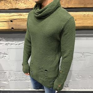 Street Fashion Broken Hole High Collar Sweater