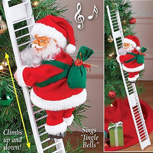 Electric Climbing Ladder Santa Claus Christmas Figurine Ornament Decoration Gifts