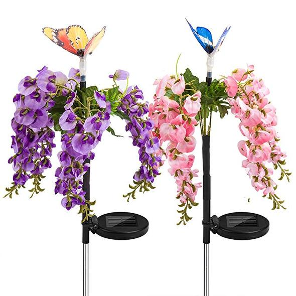 Solar Garden Stake Decorations Lawn Flower Lights Outdoor