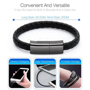 Outdoor Portable Leather Mini Micro USB Bracelet Charger