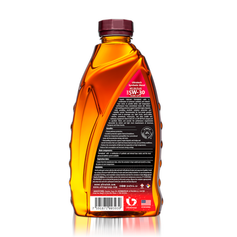 Image of Auto SAE 5W-30 Synthetic Blend Motor Oil, API SN Plus, ILSAC GF-5