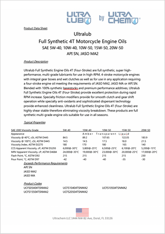 Image of Moto SAE 20W-50 Full Synthetic 4T Engine Oil, API SN, JASO MA, MA2 - Ultralub E-Commerce