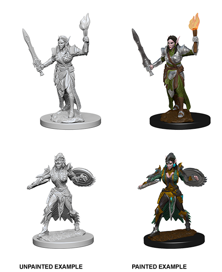 Unpainted Minis: W01: PF: Elf Female Fighter | Misty Mountain Games