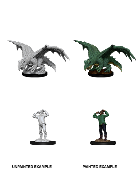 Unpainted Minis: W11: D&D: Green Dragon Wyrmling & Afflicted Elf | Misty Mountain Games