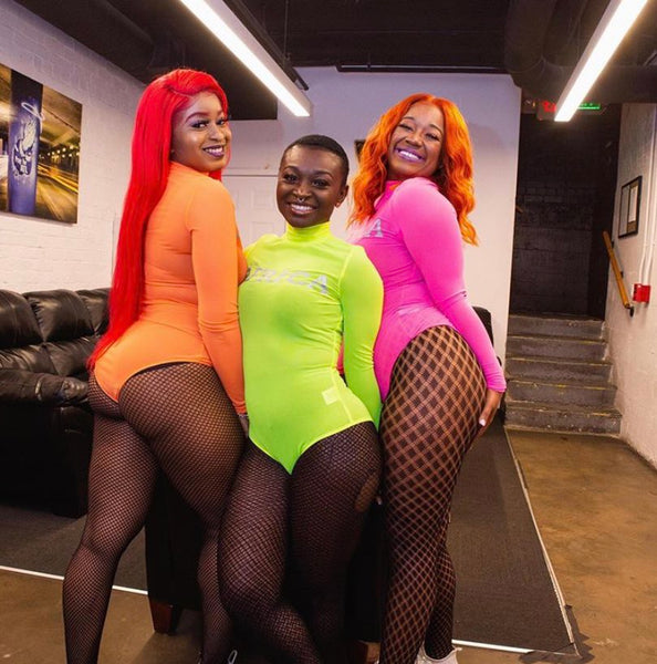 "Neon Orange & 3M ""AFRICA"" Bodysuit"