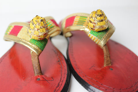 African Royal Queen Slippers- Size 8-8 1/2-  US WOMENS