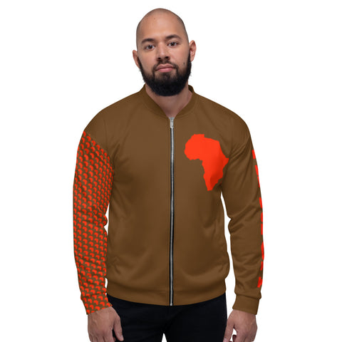 AFRICA by SooFire Unisex Bomber Jacket (Orange-Red/Brown) NEW!