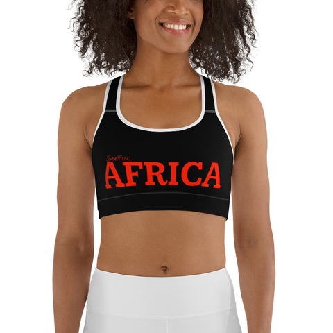 AFRICA by SooFire Sports bra (Red/Black) w/ White Trim