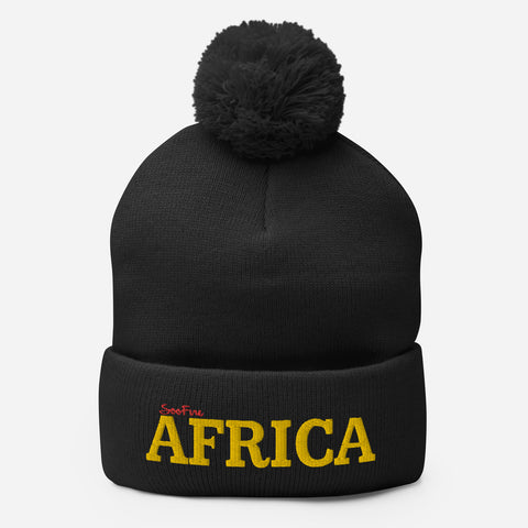Pom Pom AFRICA Knit Cap | Black/Gold| Red