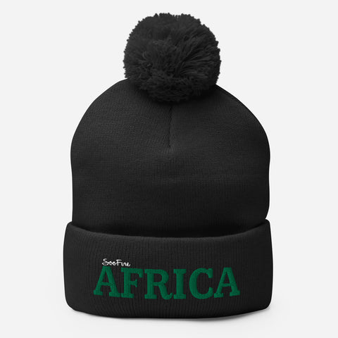 Pom Pom AFRICA Knit Cap | Green/White |Pick your Beanie Color|