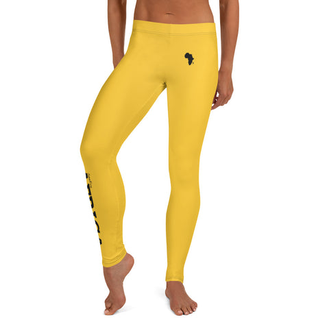 AFRICA By SooFire Leggings Style 2 (Black/DEEP YELLOW)
