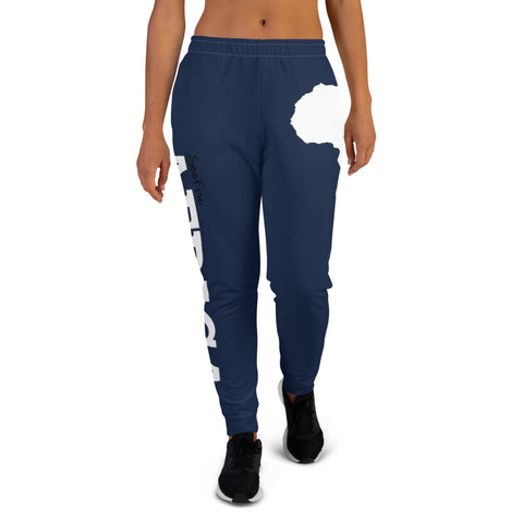 Women's AFRICA Joggers (White/Navy Blue)