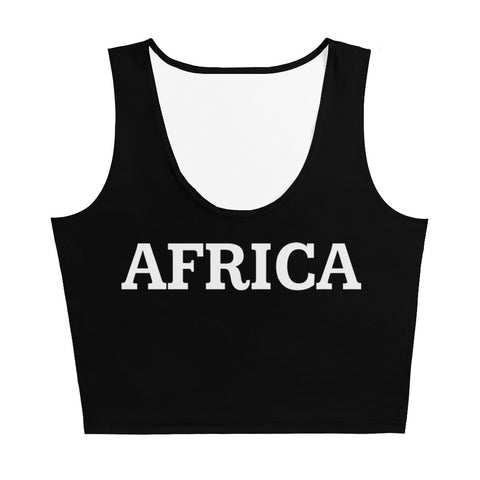 AFRICA Sublimation Cut & Sew Crop Top Style 2 (BLACK)