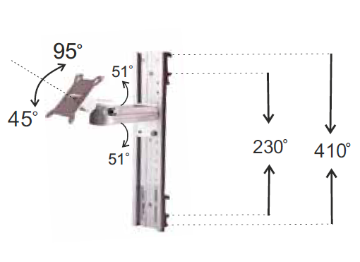 Vesa Connection Type Horizontal Rail Clamp