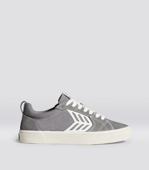 CATIBA PRO Skate 帆布鞋(灰/米白)女士 (Charcoal Grey Suede and Canvas Contrast Thread Ivory Logo Sneaker Women)