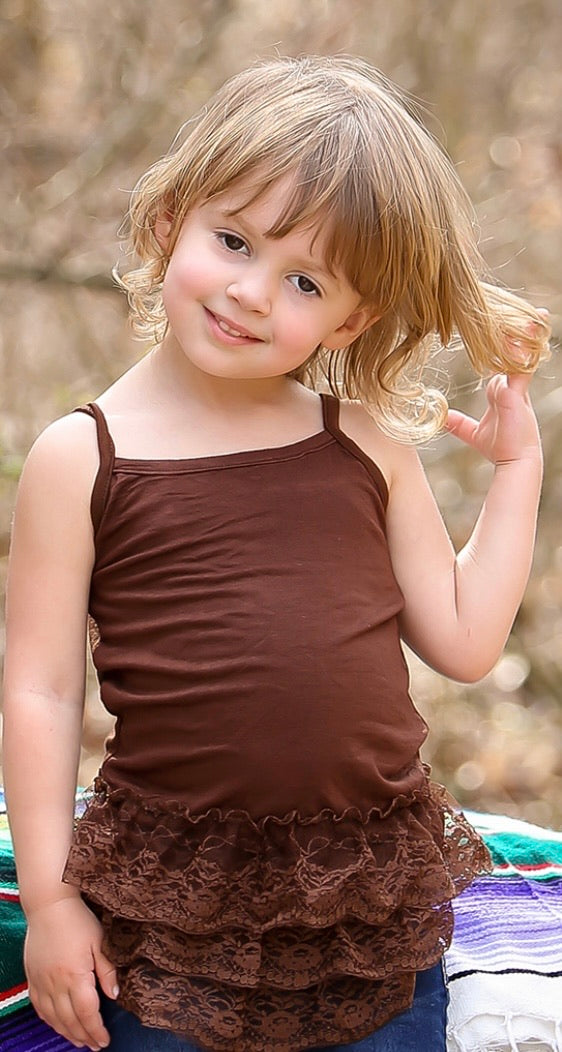 Girls brown lace cami size 2/4