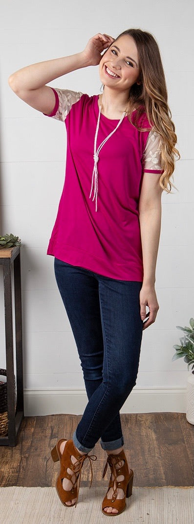Fuchsia top with lace sleeves