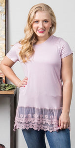 Lavender split hem lace top